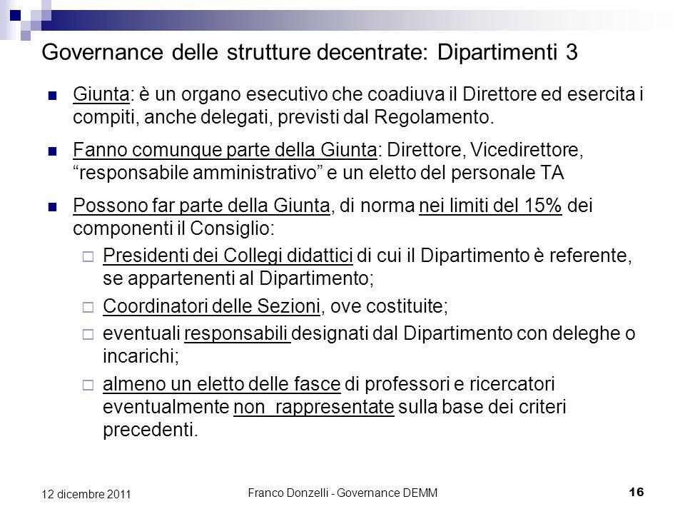 Governance delle strutture decentrate: Dipartimenti 3