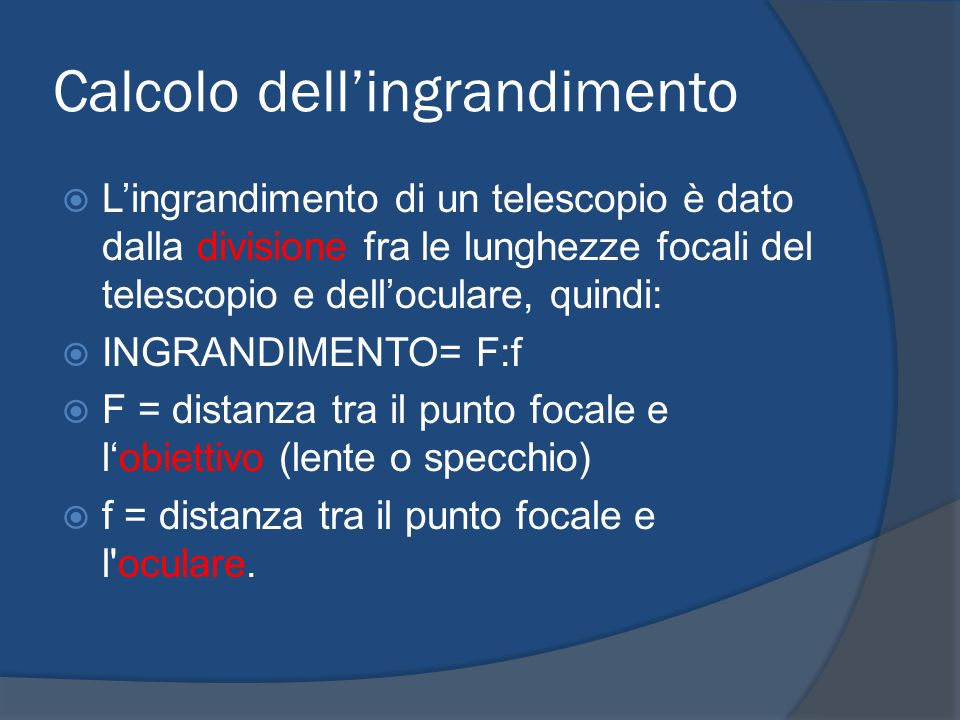 Calcolo dell'ingrandimento