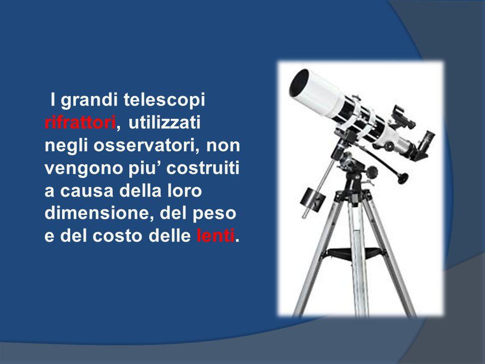 I grandi telescopi rifrattori, utilizzati negli osservatori, non vengono piu' costruiti a causa della loro dimensione, del peso e del costo delle lenti.