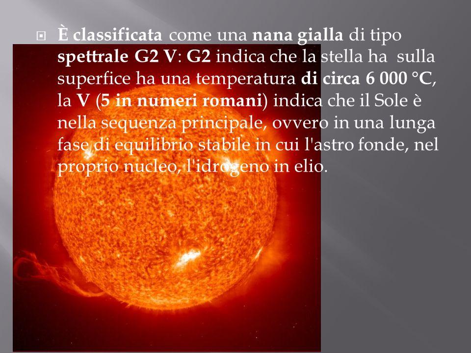 È classificata come una nana gialla di tipo spettrale G2 V: G2 indica che la stella ha sulla superfice ha una temperatura di circa 6 000 °C, la V (5 in numeri romani) indica che il Sole è nella sequenza principale, ovvero in una lunga fase di equilibrio stabile in cui l astro fonde, nel proprio nucleo, l idrogeno in elio.
