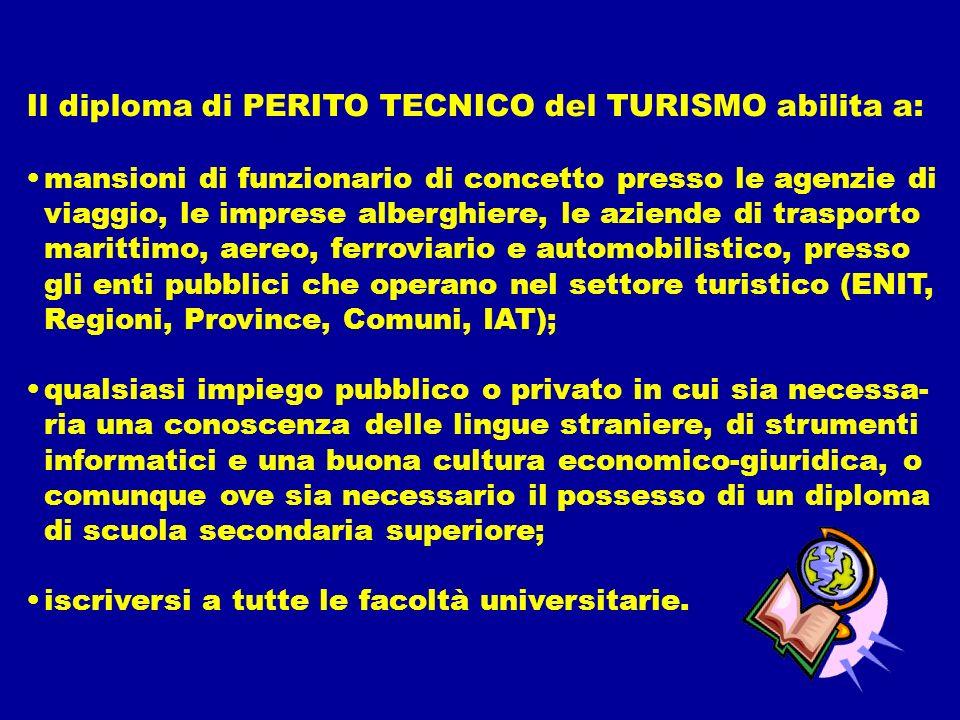Il diploma di PERITO TECNICO del TURISMO abilita a: