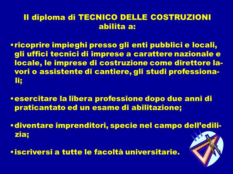 Il diploma di TECNICO DELLE COSTRUZIONI
