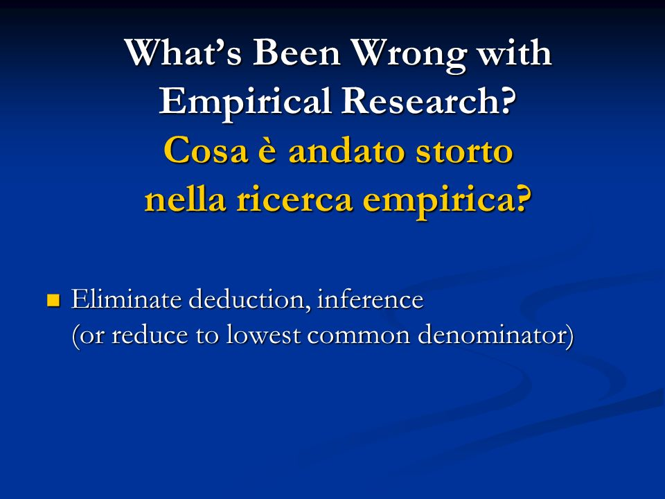 What's Been Wrong with Empirical Research