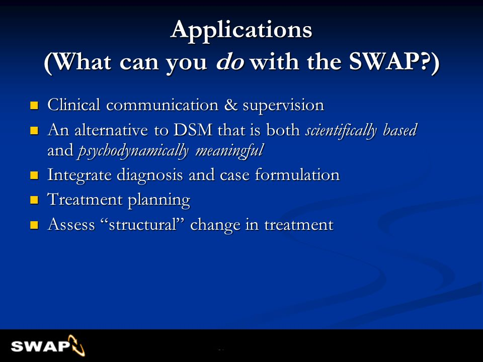 Applications (What can you do with the SWAP )
