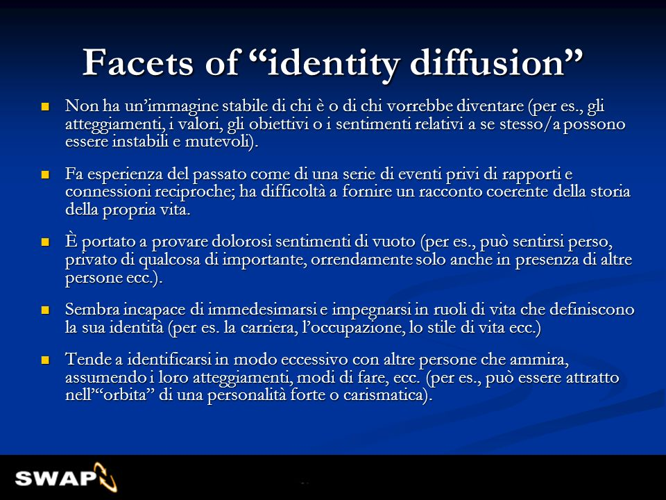 Facets of identity diffusion