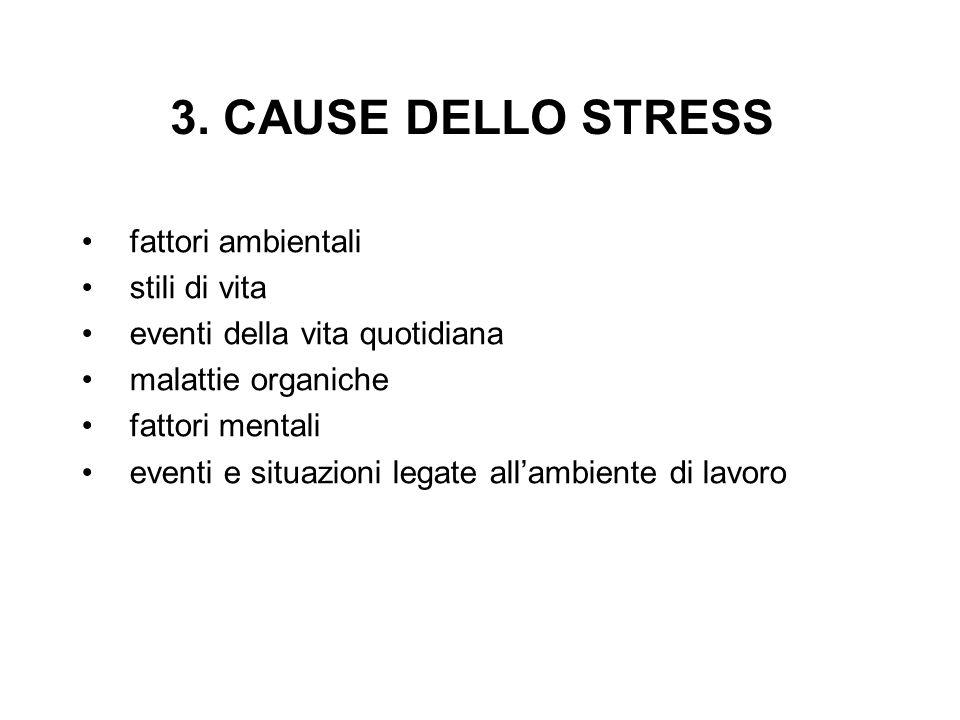 3. CAUSE DELLO STRESS fattori ambientali stili di vita