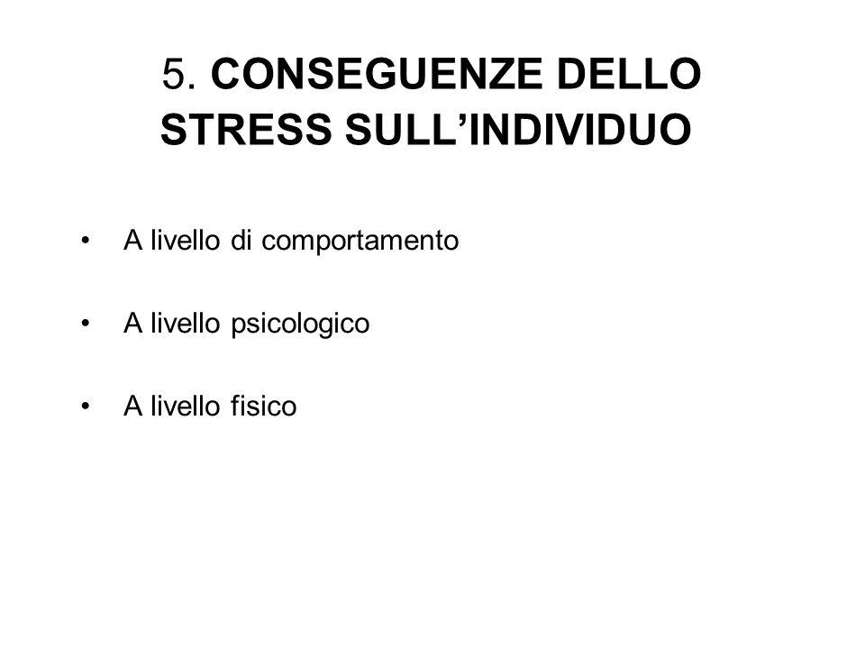 5. CONSEGUENZE DELLO STRESS SULL'INDIVIDUO