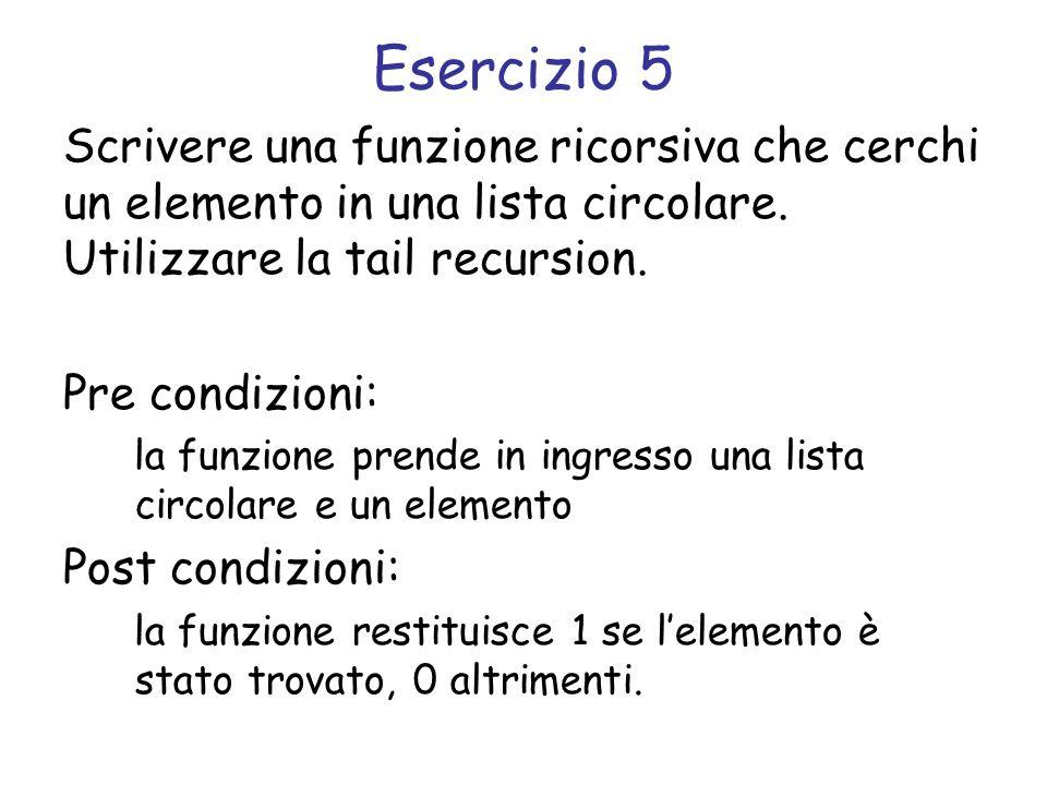 Esercizio 5 Scrivere una funzione ricorsiva che cerchi un elemento in una lista circolare. Utilizzare la tail recursion.