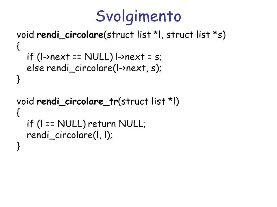 Svolgimento void rendi_circolare(struct list *l, struct list *s) {