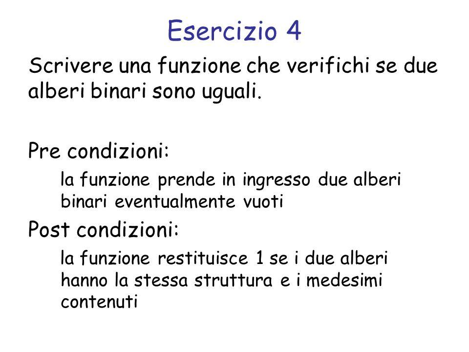 Esercizio 4 Scrivere una funzione che verifichi se due alberi binari sono uguali. Pre condizioni:
