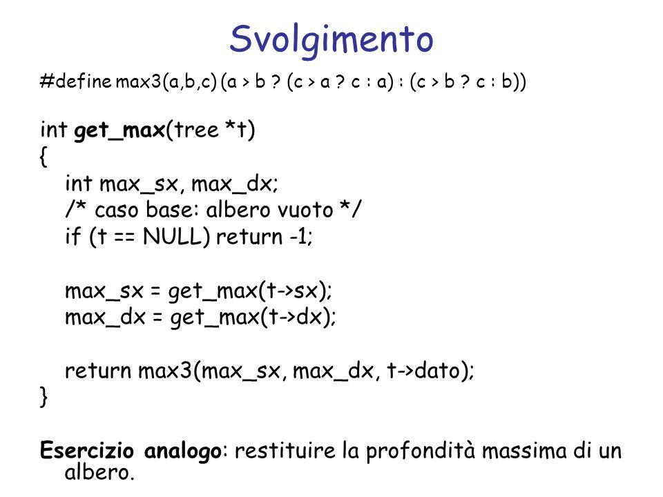 Svolgimento int get_max(tree *t) { int max_sx, max_dx;