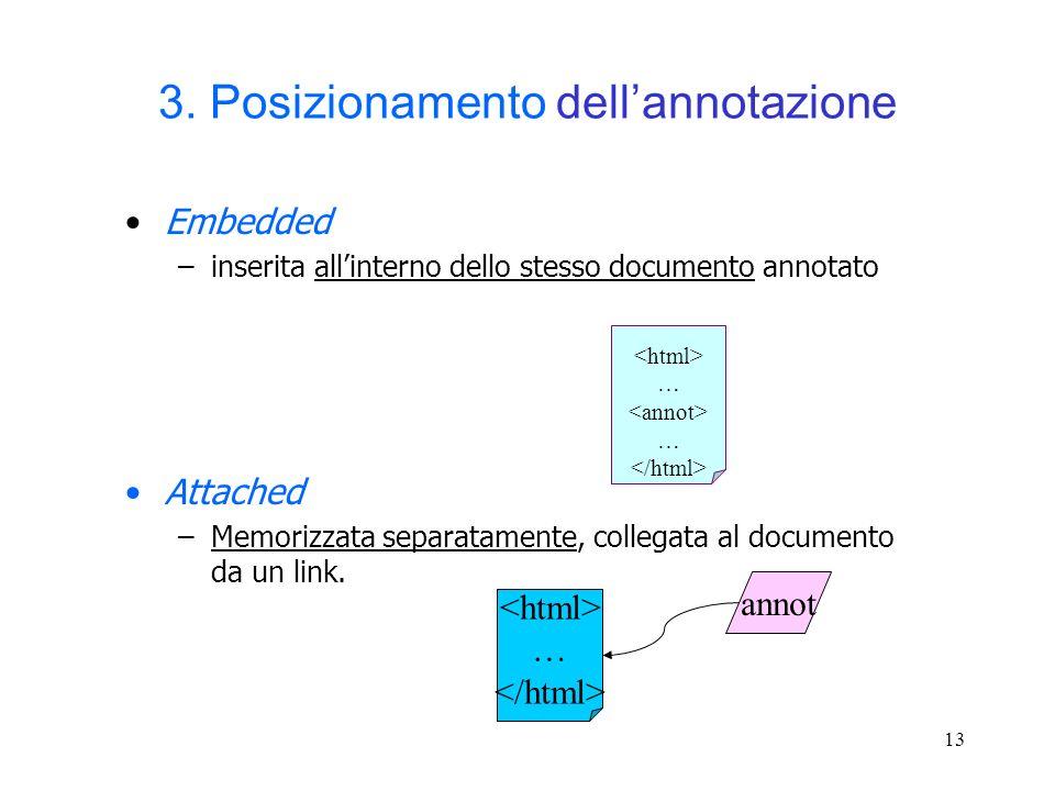 3. Posizionamento dell'annotazione
