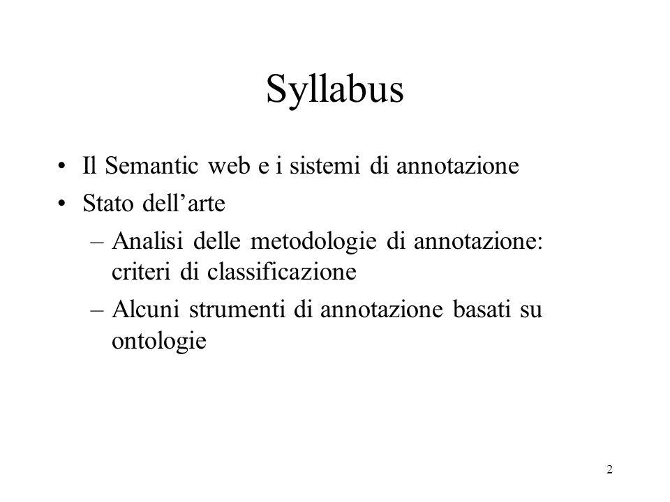 Syllabus Il Semantic web e i sistemi di annotazione Stato dell'arte