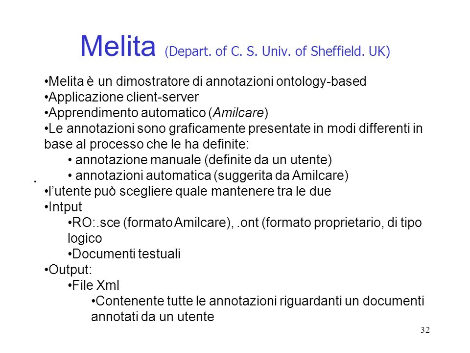 Melita (Depart. of C. S. Univ. of Sheffield. UK)