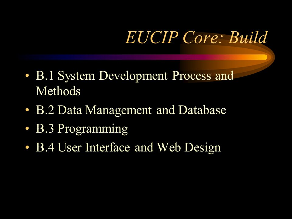 EUCIP Core: Build B.1 System Development Process and Methods