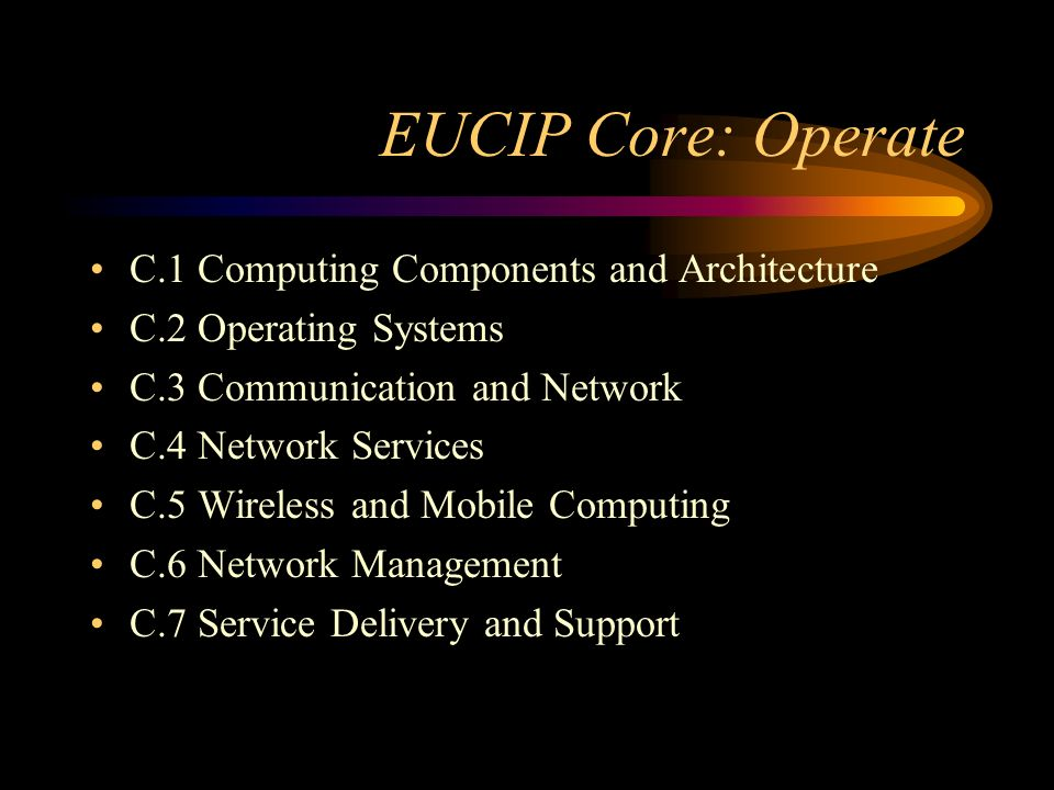 EUCIP Core: Operate C.1 Computing Components and Architecture