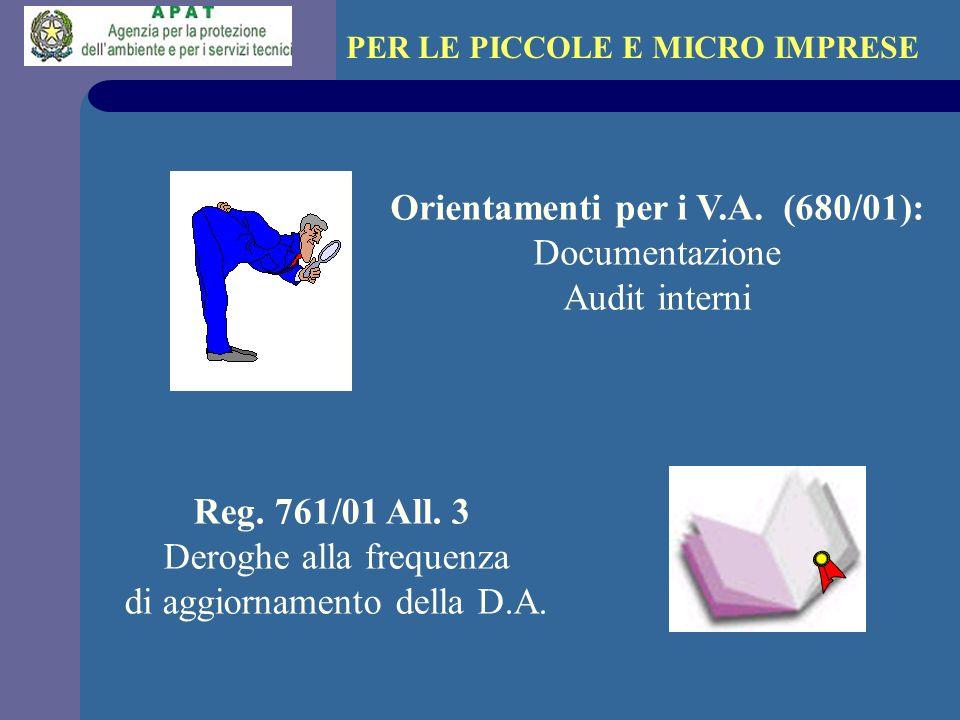 PER LE PICCOLE E MICRO IMPRESE Orientamenti per i V.A. (680/01):