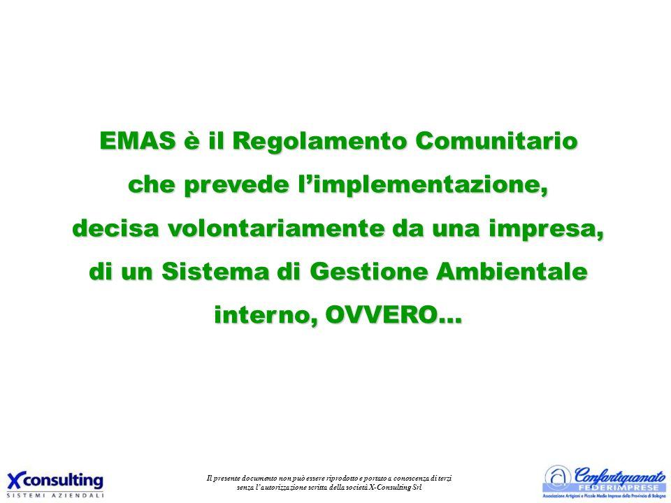 EMAS è il Regolamento Comunitario che prevede l'implementazione,