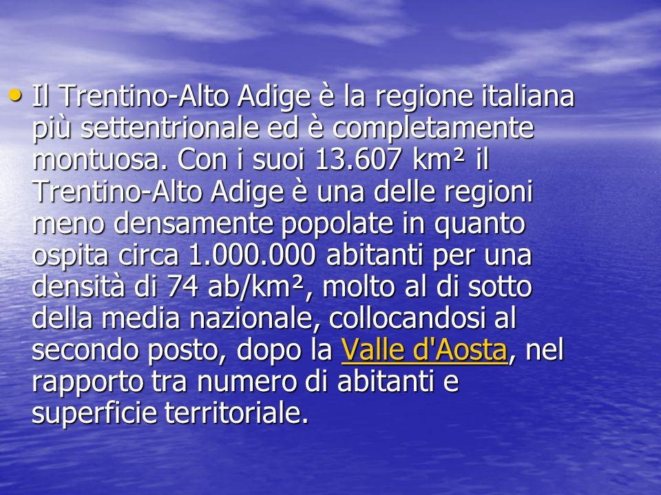 Il Trentino-Alto Adige è la regione italiana più settentrionale ed è completamente montuosa.