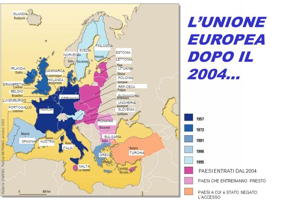 L'UNIONE EUROPEA DOPO IL 2004…
