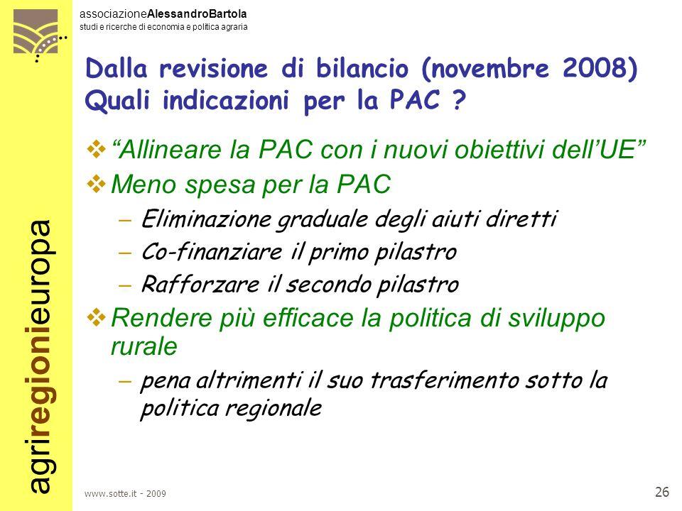 Allineare la PAC con i nuovi obiettivi dell'UE Meno spesa per la PAC