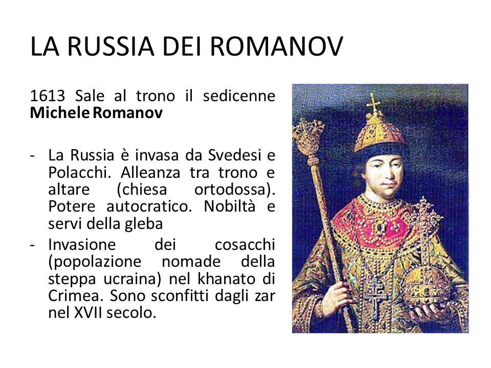 LA RUSSIA DEI ROMANOV 1613 Sale al trono il sedicenne Michele Romanov