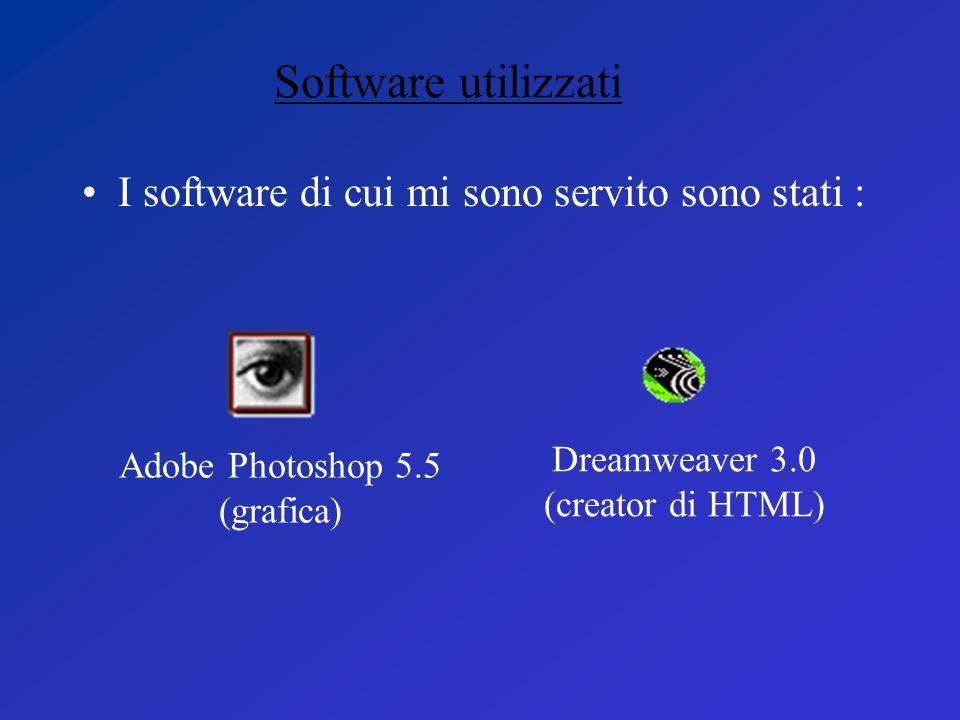 Software utilizzati I software di cui mi sono servito sono stati :