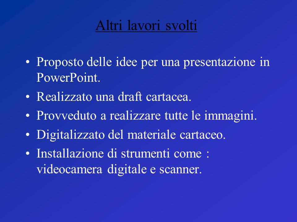 Altri lavori svolti Proposto delle idee per una presentazione in PowerPoint. Realizzato una draft cartacea.