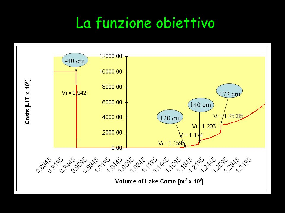 La funzione obiettivo Penalties set in the objective function