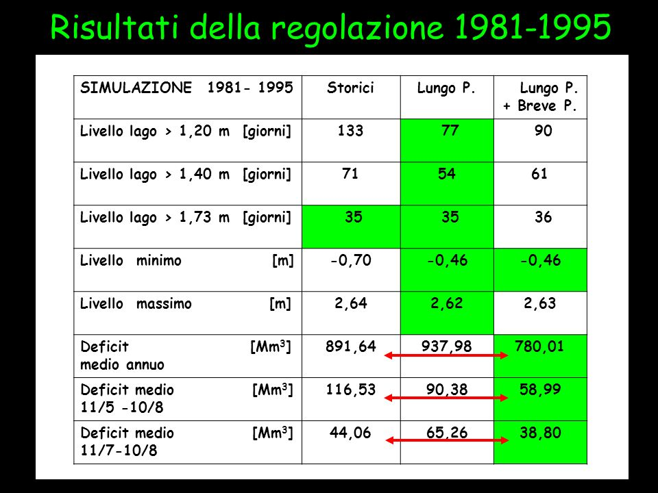 Risultati della regolazione 1981-1995