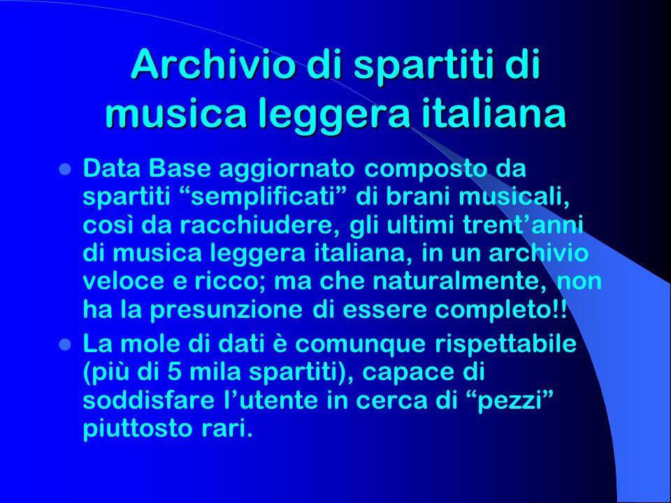Archivio di spartiti di musica leggera italiana