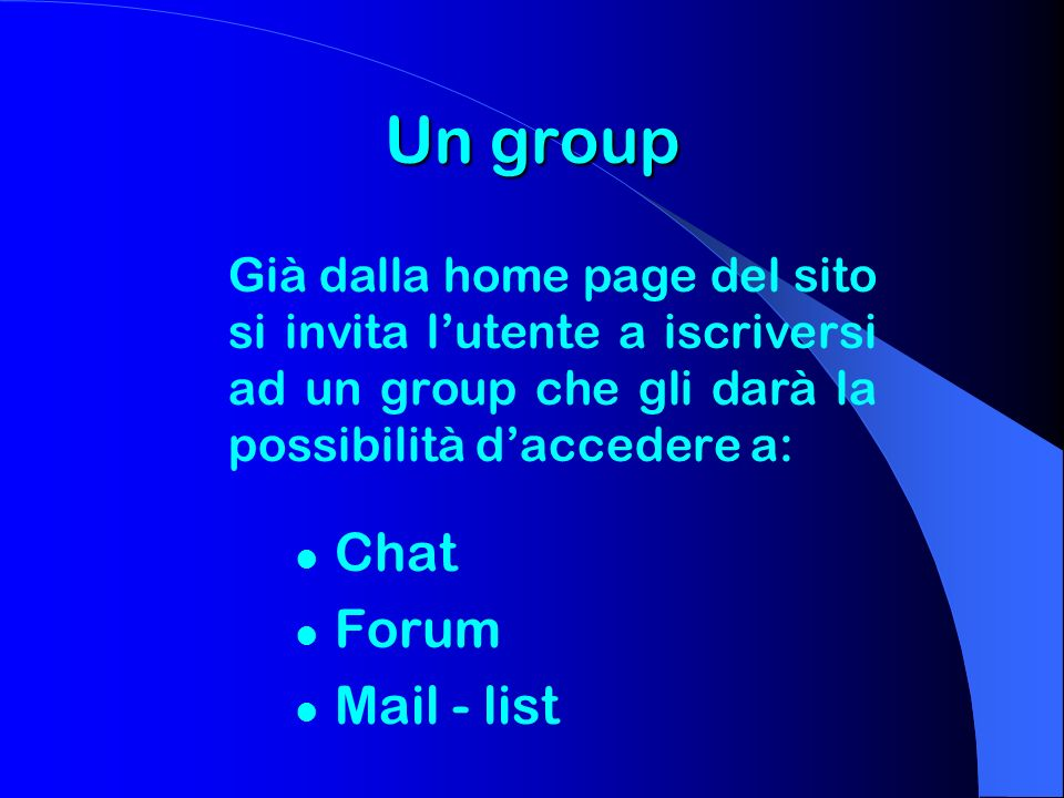 Un group Chat Forum Mail - list