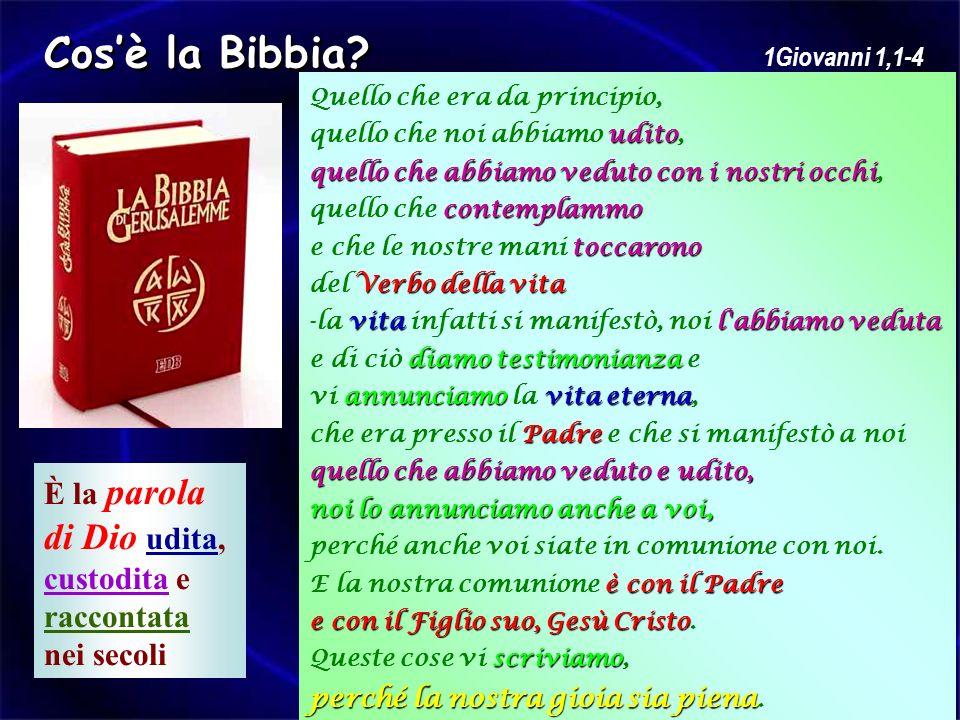 Cos'è la Bibbia È la parola di Dio udita, custodita e