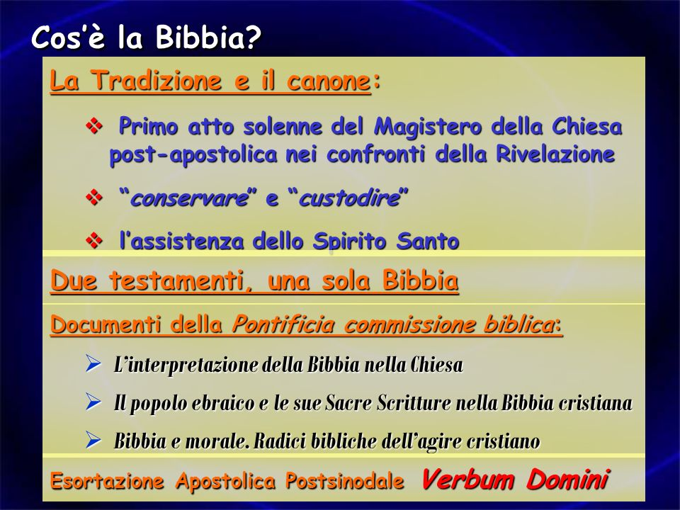 Cos'è la Bibbia La Tradizione e il canone: