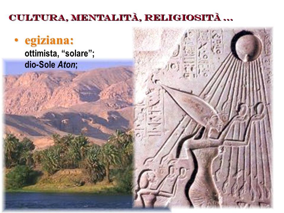 egiziana: ottimista, solare ; dio-Sole Aton;