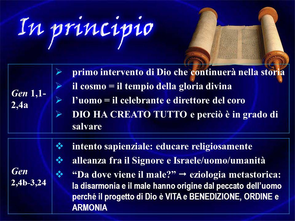Gen 1,1-2,4a primo intervento di Dio che continuerà nella storia. il cosmo = il tempio della gloria divina.