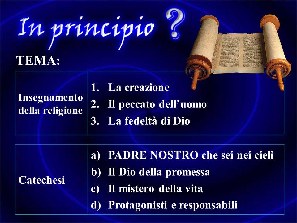 TEMA: La creazione Il peccato dell'uomo La fedeltà di Dio
