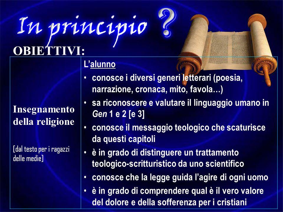 OBIETTIVI: Insegnamento della religione L'alunno