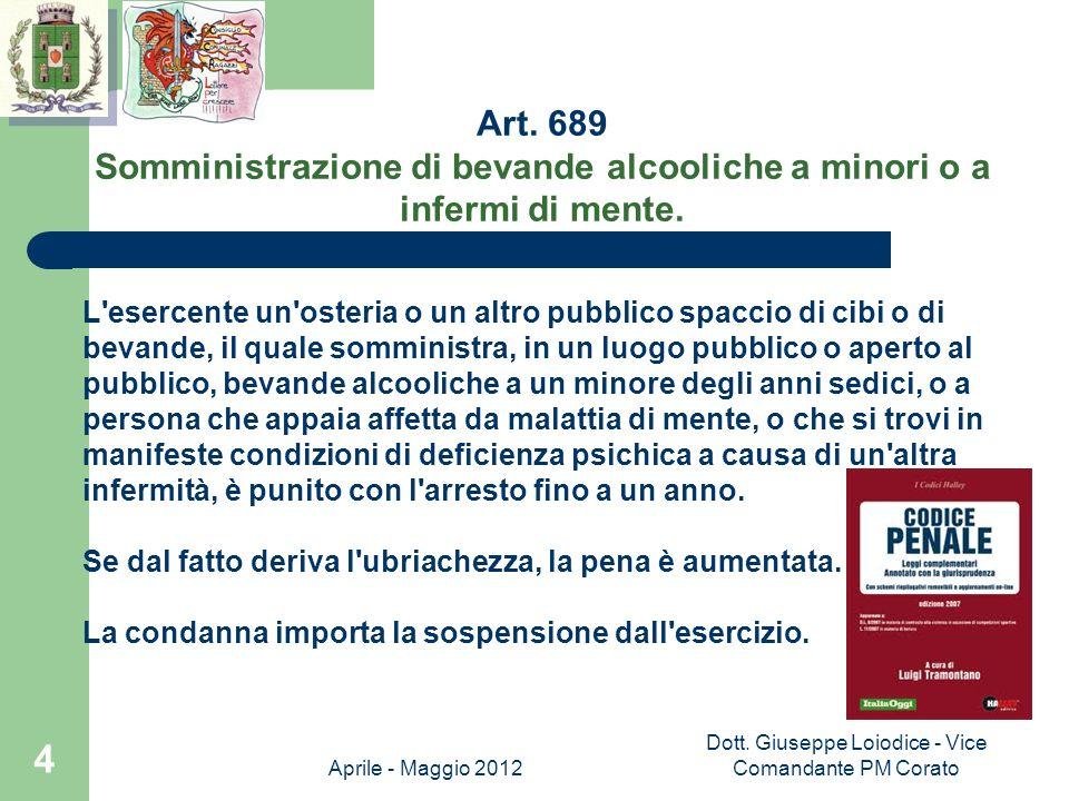 Somministrazione di bevande alcooliche a minori o a infermi di mente.