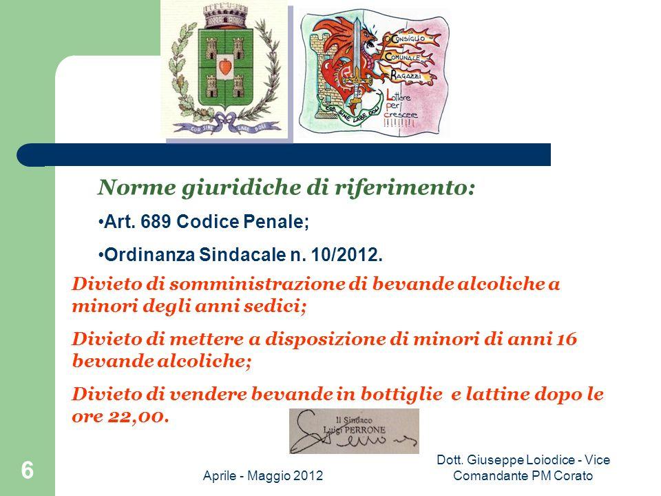 Dott. Giuseppe Loiodice - Vice Comandante PM Corato