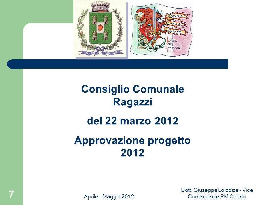 Consiglio Comunale Ragazzi Approvazione progetto 2012