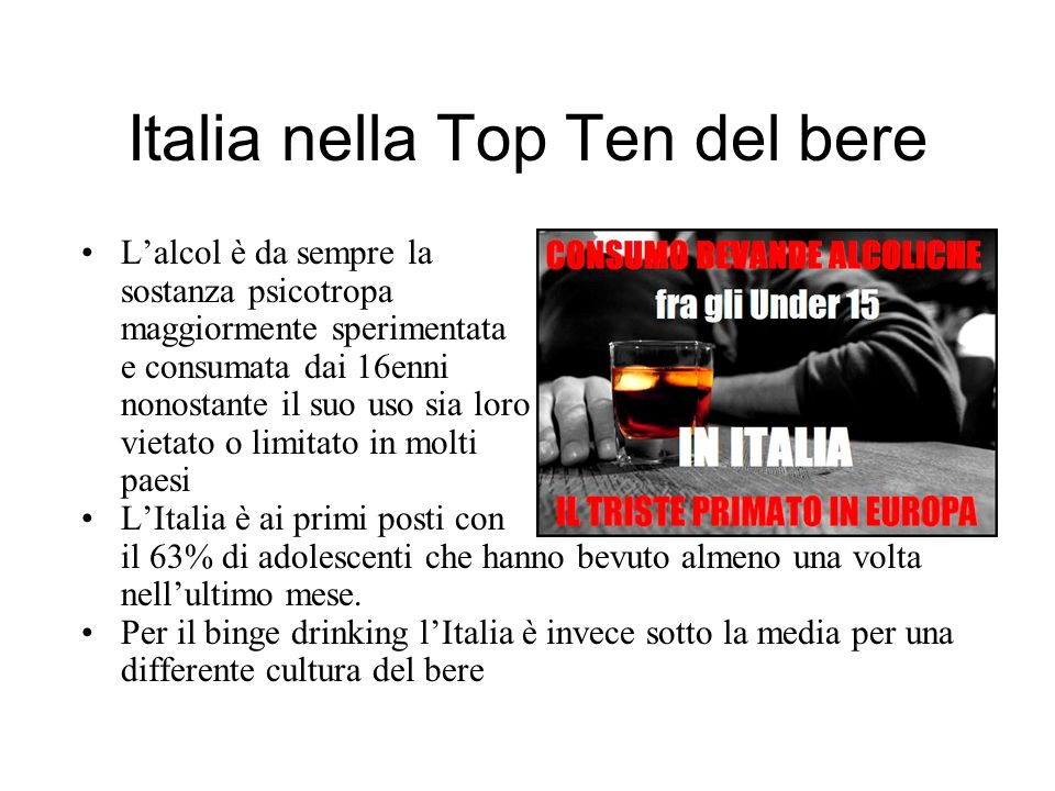 Italia nella Top Ten del bere