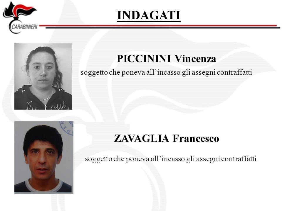 INDAGATI PICCININI Vincenza ZAVAGLIA Francesco