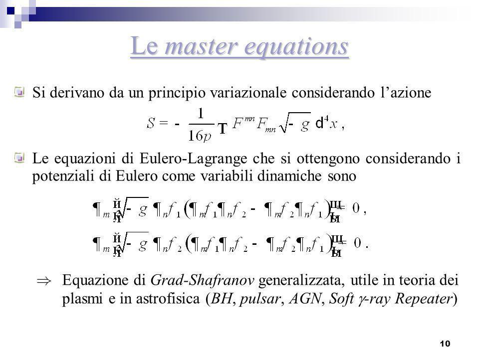 Le master equations Si derivano da un principio variazionale considerando l'azione.