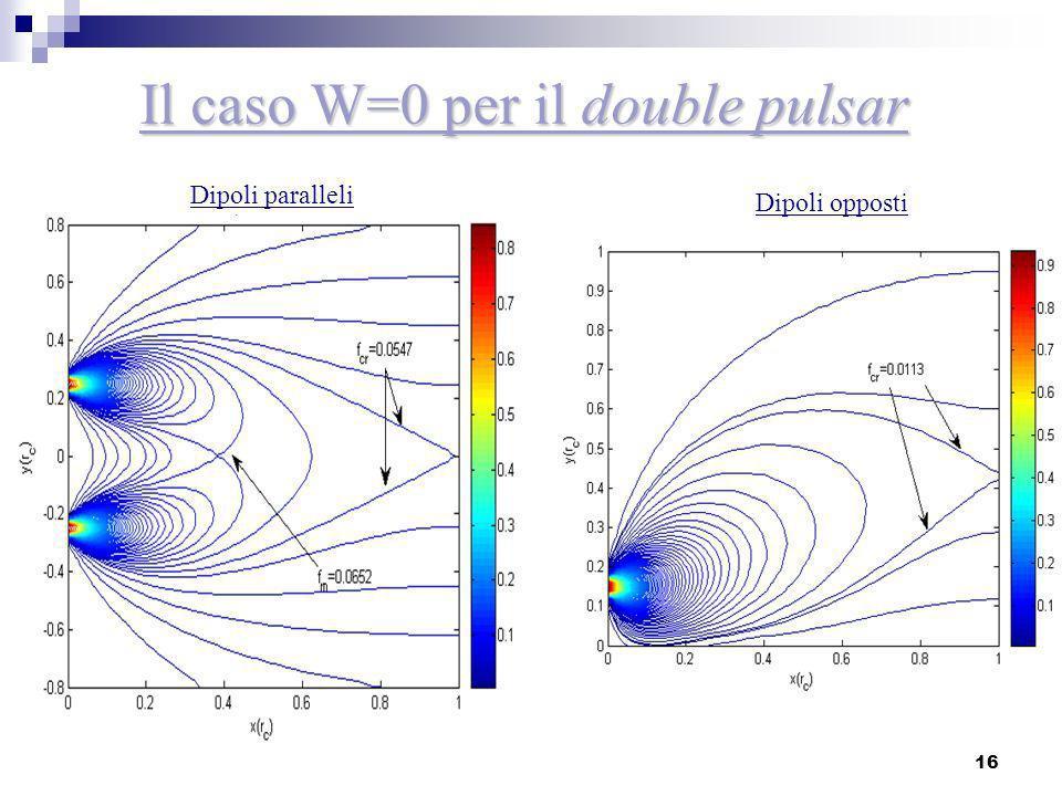 Il caso W=0 per il double pulsar