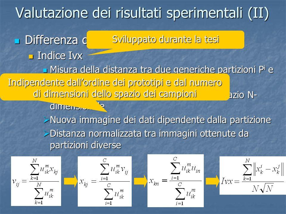 Valutazione dei risultati sperimentali (II)