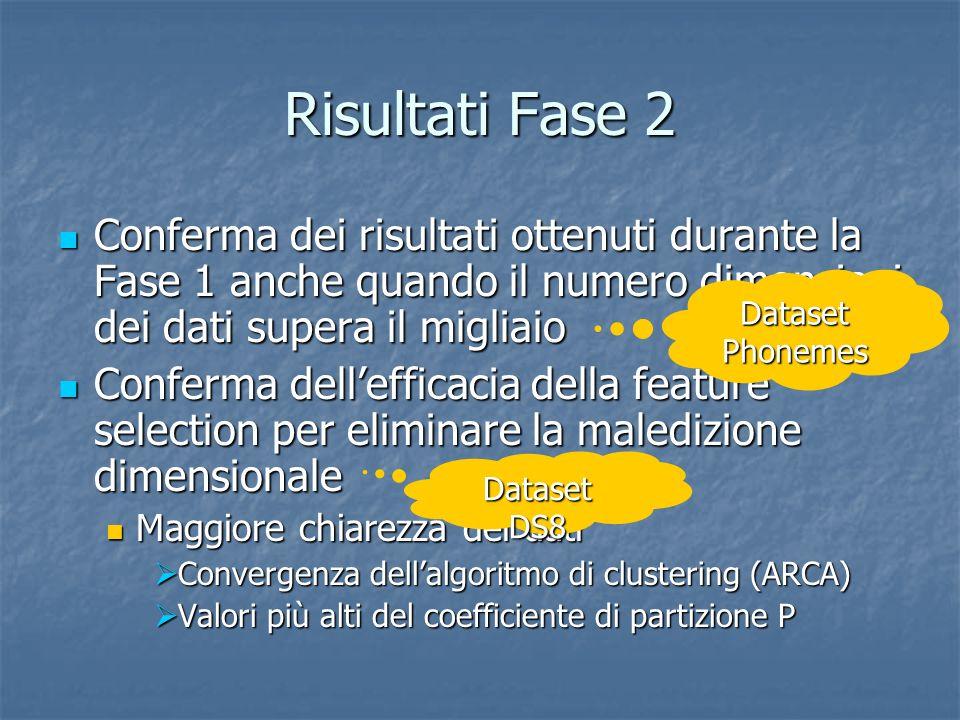 Risultati Fase 2 Conferma dei risultati ottenuti durante la Fase 1 anche quando il numero dimensioni dei dati supera il migliaio.