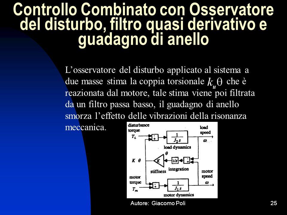 Controllo Combinato con Osservatore del disturbo, filtro quasi derivativo e guadagno di anello