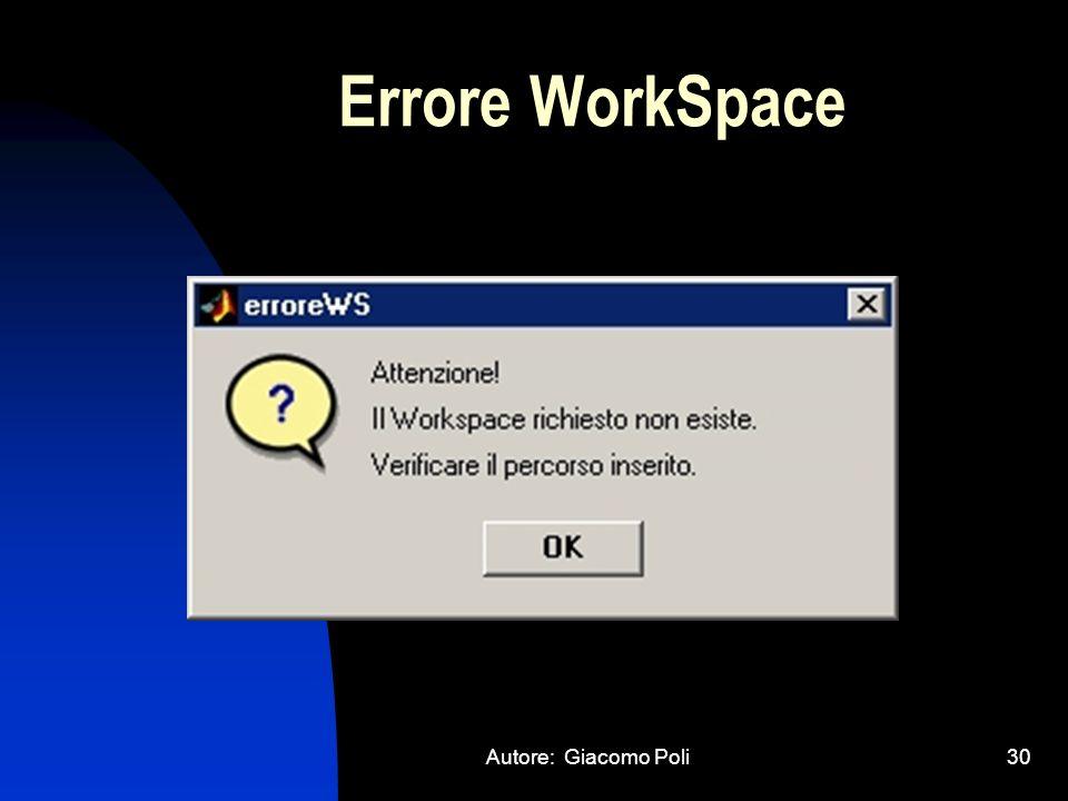 Errore WorkSpace Autore: Giacomo Poli