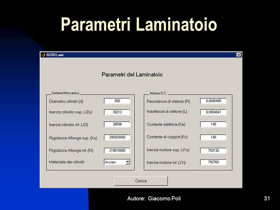 Parametri Laminatoio Autore: Giacomo Poli